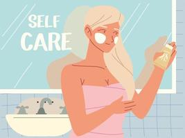 girl standing in bathroom holding lotion skincare in hand, self care vector