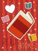 leer libro dibujos animados literatura conocimiento y aprendizaje vector