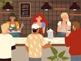 barista de cafetería y personajes de clientes de cafetería. vector