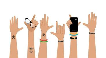 set of hands punk style vector