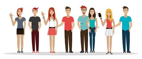group people punk style avatar character vector