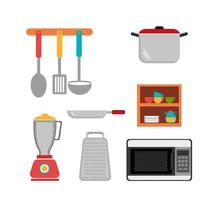 set cutlery with pot and icons vector
