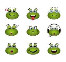bundle of emoticons frogs expressions vector