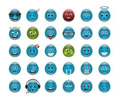 bundle of emoticons with expressions vector