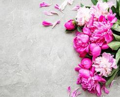 Background with pink peonies photo