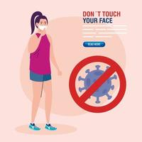 do not touch your face, woman wearing face mask and coronavirus particle in signal prohibited, avoid touching your face, coronavirus covid19 prevention vector