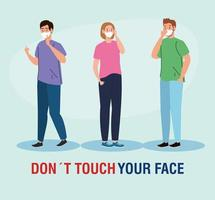 do not touch your face, people using face mask, avoid touching your face, coronavirus covid19 prevention vector