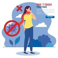 do not touch your face, woman with scarf outdoor, avoid touching your face, coronavirus covid19 prevention vector