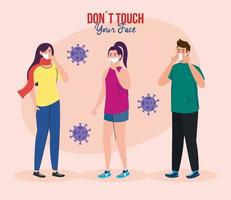 do not touch your face, young people using face mask, avoid touching your face, coronavirus covid19 prevention vector
