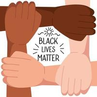 stop racism, with four joined hands, black lives matter concept vector