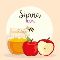 celebración de rosh hashaná, año nuevo judío, con botella de miel, manzanas y abejas volando vector
