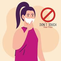 do not touch your face, young woman wearing face mask, avoid touching your face, coronavirus covid19 prevention vector