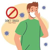 do not touch your face, man wearing face mask, avoid touching your face, coronavirus covid19 prevention vector