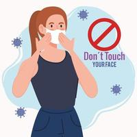 do not touch your face, young woman using face mask, avoid touching your face, coronavirus covid19 prevention vector