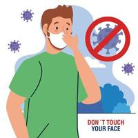 do not touch your face, young man using face mask outdoor, avoid touching your face, coronavirus covid19 prevention vector