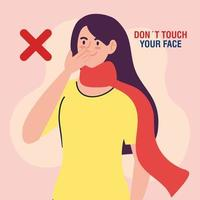 do not touch your face, woman with scarf, avoid touching your face, coronavirus covid19 prevention vector