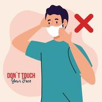 do not touch your face, young man wearing face mask, avoid touching your face, coronavirus covid19 prevention vector