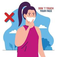 do not touch your face, woman wearing face mask, avoid touching your face, coronavirus covid19 prevention vector