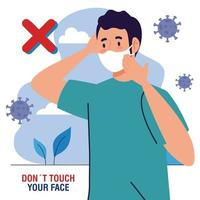 do not touch your face, man using face mask outdoor, avoid touching your face, coronavirus covid19 prevention vector