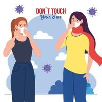 do not touch your face, women using face mask outdoor, avoid touching your face, coronavirus covid19 prevention vector