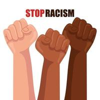 stop racism, with hands in fist, black lives matter concept vector