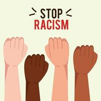 stop racism, with hands in fist, concept of black lives matter vector
