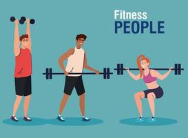 fitness people, group of young people practicing exercise with dumbbells and weight bar vector