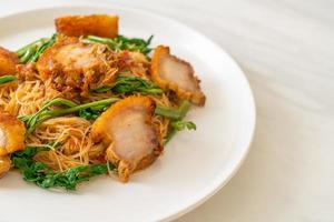 Stir fried rice vermicelli and water mimosa with crispy pork belly photo