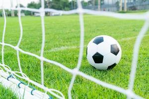 Soccer ball on the ball field photo