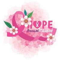pink ribbon, symbol of world breast cancer awareness month in october, with heart and flowers vector