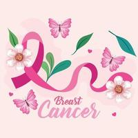 symbol of world breast cancer awareness month in october with pink ribbon, butterflies, leaves and heart decoration vector