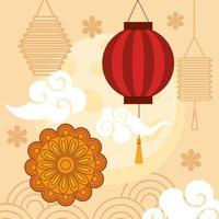 chinese mid autumn festival with lanterns hanging, mooncake, clouds and flowers vector