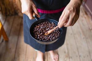 Traditional roasting of coffee photo