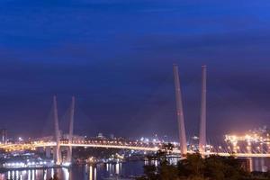 Night city landscape with a view of the Golden Bridge  Vladivostok photo
