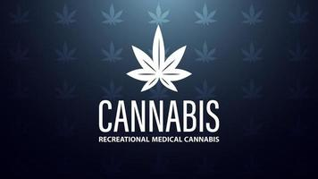 Cannabis logo made of marijuana leaf on blue background with texture of cannabis leafs vector