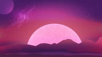 Pink evening mars landscape with starry sky, large planet on the horizon and coniferous forest. Cosmic landscape with meteors in the sky and a planets vector