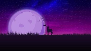 Night purple landscape with a large moon on the horizon, starry sky, falling meteorites and the silhouette of a deer on horizon vector