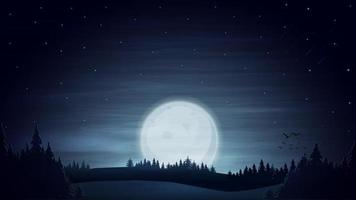 Night blue landscape with large moon on blue starry sky, meteors and forest on horizon. vector