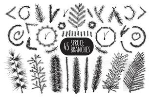 Set of 45 hand drawn spruce branches Christmas Trees and wreaths. vector