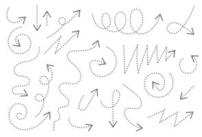 Hand drawn arrows set with dashed lines vector