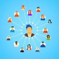 Esquema de redes sociales con personas. vector