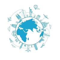 Travel concept with the Earth with world city sights. Linear vector illustration