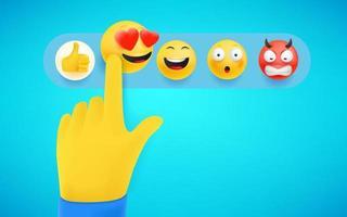 Finger pressing emoji reaction in social media. Shocking emoji. 3d cute style vector illustration