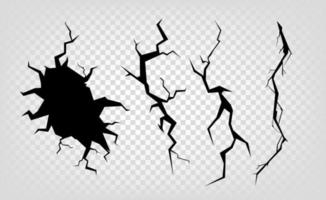 Different cracks effect isolated on transparent background vector