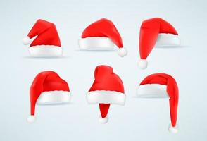 Red and white Santa Claus hat vector set
