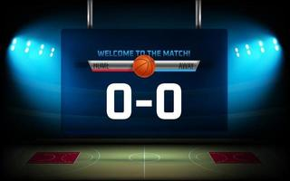 Begin of basketball match graphic elements. Illuminated basketball arena with scoreboard vector
