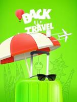 Green travel bag with beach umbrella, sunglasses and world sights. Back to travel concept vector
