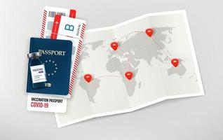 Travel in covid-19 pandemic. Illustration with paper map, id and covid passport vector