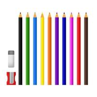 Colored pencils with sharpener and eraser on white background vector
