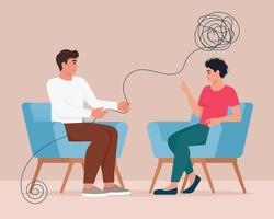 Sad Unhappy Woman talking with Psychologist vector